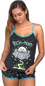 Rick And Morty Spaceship Black Pajama Short And Top Set