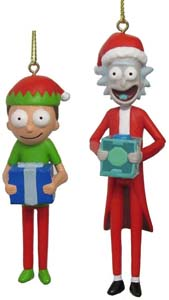 Rick & Morty Ornaments With Santa Hats