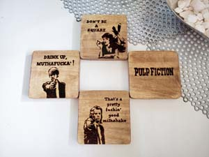 Set Of 4 Pulp Fiction Wood Coaster