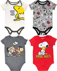 Snoopy Baby Boys' 4 Pack Bodysuits