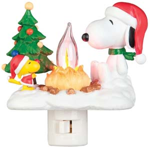Snoopy By Camp Fire Flickering Night Light