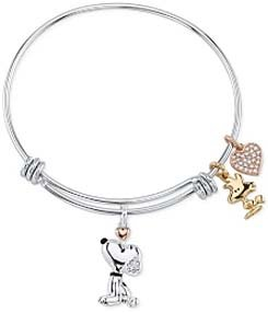 Snoopy & Woodstock Bangle Bracelet In Tri Tone Stainless Steel