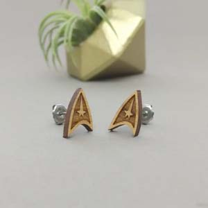 Starfleet Insignia Laser Engraved Wood Earrings