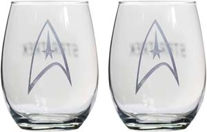 Starfleet Command Insignia Badge Collectible Wine Glass Set