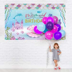 Under The Sea Little Mermaid Birthday Banner Backdrop
