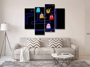 Vintage Pacman Video Game Canvas Wall Art
