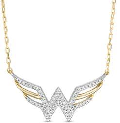 Wonder Woman Diamond Symbol Necklace In 10k Gold