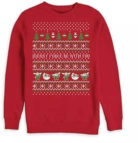 Baby Yoda Red Christmas Pullover Sweater For Men
