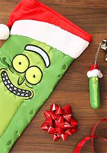 Pickle Rick Ornament With Santa Hat