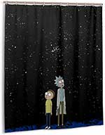 Rick And Morty Shower Curtain Black Universe Background