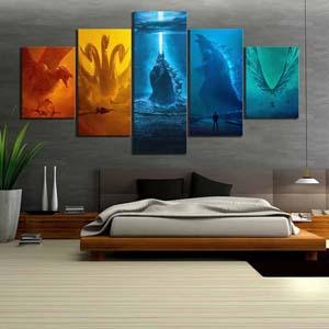 5 Piece Wall Art Set Angry Godzilla Canvas Painting