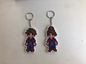 Custom Stardew Valley Cross Stitch Player Keychain