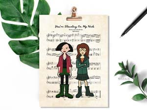 Daria And Jane Music Sheet Art Print