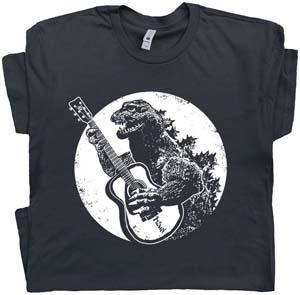 Godzilla Playing Guitar T Shirt