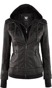 Lock And Love Womens Removable Hooded Faux Leather Moto Biker Jacket