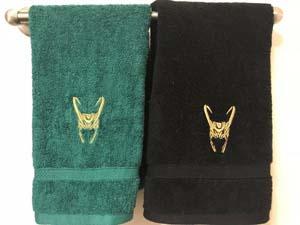 Loki Helmet Embroidered Hand Towel