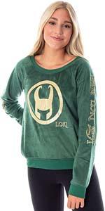 Loki Helmet Foil Print Fleece Sleep Shirt