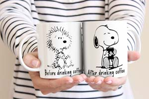 Snoopy Before And After Drinking Coffee Mugs