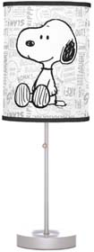 Snoopy On Black And White Comics Table Lamp