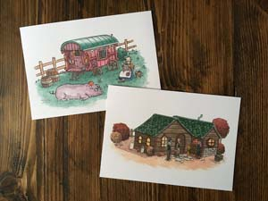 Stardew Valley Art Prints Travelling Merchant And Leahs Cottage