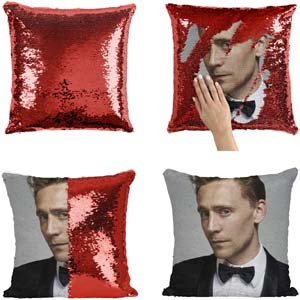 Tom Hiddleson Sequin Throw Pillow