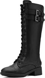 Womens Pu Knee High Riding Combat Boots