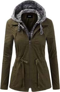 Womens Zip Up Safari Military Anorak Jacket