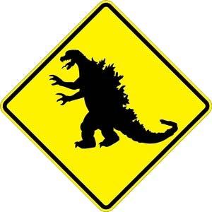 Godzilla Warning Sign 18 Inch By 18 Inch