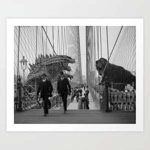 Old Time Godzilla Vs King Kong Art Print By Taylor Holmes