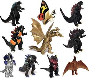 Set Of 10 Godzilla Toys With Carry Bag